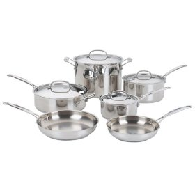 cuisinart stainless steel 10 piece cookware set